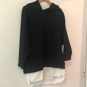 Zara Oversized Hoodie With Dress Shirt Tail
